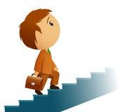 Uomo d'affari maschio con le scale di ascensione della cartella Fotografie Stock