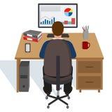 Uomo d'affari maschio in ufficio dietro il computer illustrazione di stock
