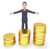 Uomo d'affari Means Cash Investment delle monete e rappresentazione imprenditoriale 3d illustrazione di stock