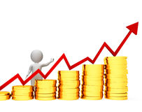 Uomo d'affari Means Success Successful e contare delle monete rappresentazione 3d Fotografia Stock