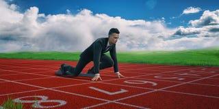 Uomo d'affari motivato pronto ad iniziare a successo Immagine Stock