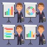 Uomo d'affari nei punti del vestito a Flip Chart Immagine Stock