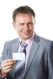 uomo d'affari nel biglietto da visita alla moda della holding del vestito Fotografia Stock Libera da Diritti