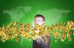 Uomo d'affari nel flusso della tenuta del vestito di valuta dorata Fotografia Stock