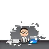 Uomo d'affari nel lavoro duro Molto lavoro Sforzo sul lavoro illustrazione vettoriale