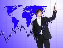 Uomo d'affari nel mondo Fotografia Stock