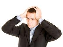 Uomo d'affari nel panico. Fotografia Stock Libera da Diritti