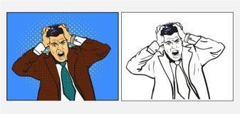 Uomo d'affari nel panico che grida, illustrazione disegnata a mano di vettore di retro stile comico di Pop art, un insieme di due illustrazione di stock