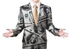 Uomo d'affari nel vestito del dollaro Immagini Stock