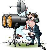 Uomo d'affari nell'introduzione sul mercato che guarda tramite il binocolo Fotografie Stock Libere da Diritti