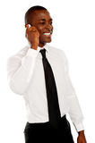 Uomo d'affari nella conversazione con il suo cliente Fotografie Stock Libere da Diritti