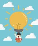 Uomo d'affari nella grande idea dell'aria calda La curvatura e la holding asiatiche dell'uomo d'affari della concorrenza concept illustrazione di stock