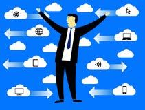 Uomo d'affari nelle nuvole Fotografia Stock Libera da Diritti