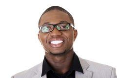 Sorridere nero astuto felice dell'uomo d'affari Fotografie Stock Libere da Diritti