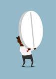Uomo d'affari nero che porta una pillola enorme illustrazione vettoriale
