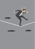 Uomo d'affari nervoso Walking Tightrope Fotografia Stock Libera da Diritti