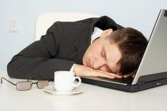 Uomo d'affari non abbastanza sonno Immagine Stock Libera da Diritti