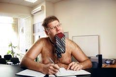 Uomo d'affari nudo strano Fotografie Stock Libere da Diritti