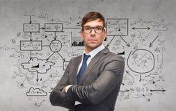 Uomo d'affari o insegnante attraente in vetri Fotografia Stock Libera da Diritti