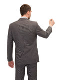 Uomo d'affari o insegnante con l'indicatore dalla parte posteriore Immagini Stock