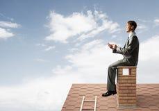 Uomo d'affari o studente sul tetto del mattone che sorride e che fa le chiamate immagine stock