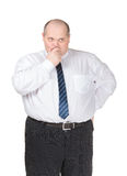 Uomo d'affari obeso che fa gesturing Fotografia Stock