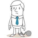 Uomo d'affari ostacolato a palla al piede royalty illustrazione gratis
