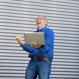 Uomo d'affari Outddor di eccitazione Immagine Stock