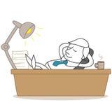 Uomo d'affari in ozio che si rilassa all'ufficio illustrazione di stock