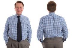 Uomo d'affari, parte anteriore e parte posteriore felici Fotografia Stock