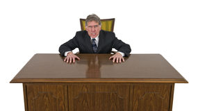 Uomo d'affari pazzo arrabbiato medio divertente isolato Fotografia Stock
