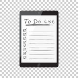 Uomo d'affari per fare lista, lista di controllo con il computer della compressa Controlli il Li Fotografie Stock Libere da Diritti