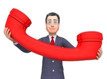 Uomo d'affari Phone Shows Call ora e rappresentazione di chiamate 3d Fotografia Stock Libera da Diritti