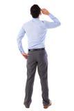 Uomo d'affari pieno dell'asiatico del corpo di retrovisione Fotografie Stock