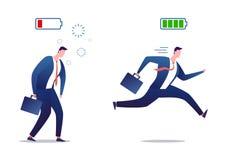 Uomo d'affari pieno di energia e stanco Uomo d'affari sovraccarico e vigoroso Stressed Persona potente e piana con pieno royalty illustrazione gratis