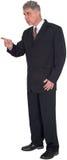 Uomo d'affari Pointing, punti, condizione, isolata Fotografia Stock Libera da Diritti