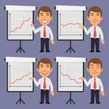 Uomo d'affari Points su Flip Chart con i grafici Fotografie Stock