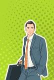 Uomo d'affari Pop Art Colorful Retro Style della cartella della tenuta dell'uomo di affari royalty illustrazione gratis