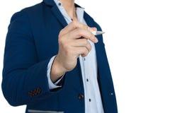 Uomo d'affari Presentation su fondo bianco Immagini Stock