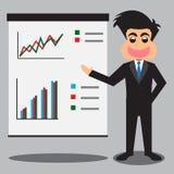 Uomo d'affari Presenting Business Profits Fotografia Stock