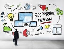 Uomo d'affari professionale online di progettazione di web rispondente di Internet fotografia stock