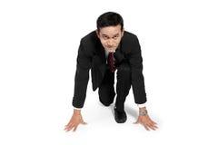 Uomo d'affari pronto a funzionare Fotografia Stock Libera da Diritti