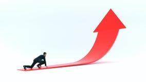 Uomo d'affari pronto a sprintare sulla freccia rossa Immagini Stock Libere da Diritti