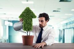 Uomo d'affari quell'innaffiatura della pianta con una forma della freccia Concetto di crescita dell'economia della società Fotografie Stock