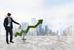 Uomo d'affari quell'innaffiatura della pianta con una forma della freccia Concetto di crescita dell'economia della società Fotografie Stock Libere da Diritti