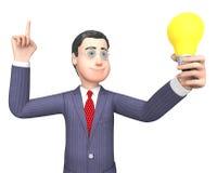 Uomo d'affari Represents Power Source della lampadina e rappresentazione del carattere 3d Fotografie Stock Libere da Diritti