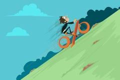 Uomo d'affari Riding Percentage Cycle Fotografia Stock Libera da Diritti