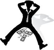 Uomo d'affari rovesc dalla crisi Fotografie Stock Libere da Diritti