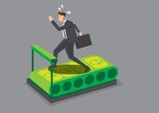 Uomo d'affari Running sull'illustrazione di vettore della pedana mobile dei soldi Immagini Stock