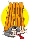 Uomo d'affari schiacciato dal debito pesante Fotografia Stock